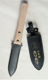 long handle steel hori hori with holster