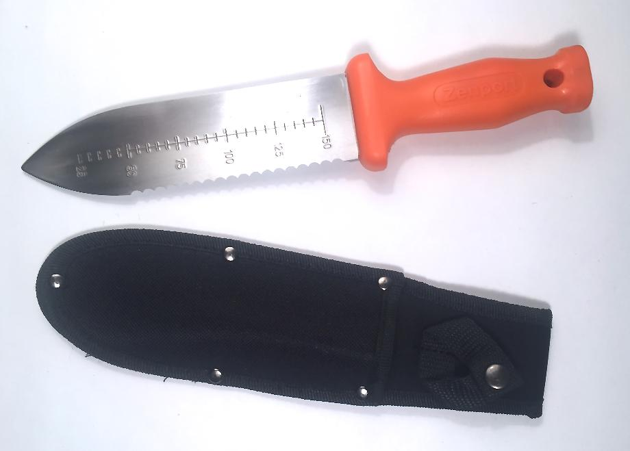 Soil Knife and holder with belt loop